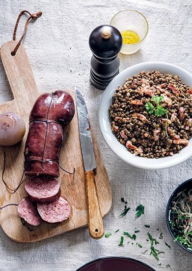 Recette Salade de lentilles du puy, lard grillé, sabodet infusé